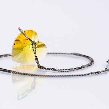Yellow Heart Necklace Pendant Swarovski Summer Jewelry Romantic Gift For Her