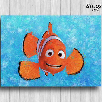 marlin clownfish finding nemo print nursery fishing decor disney wall art