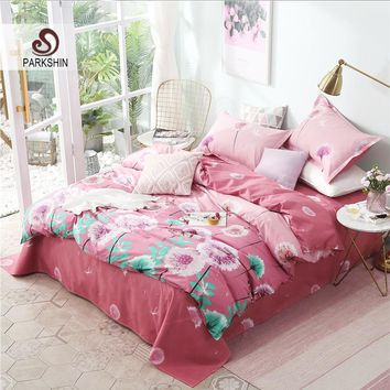 Cool ParkShin Flowers Bedding Sets Pink Nordic Comforter Bedspread Duvet Cover Double Bed Sheets Linens Adult Queen King BedclothesAT_93_12