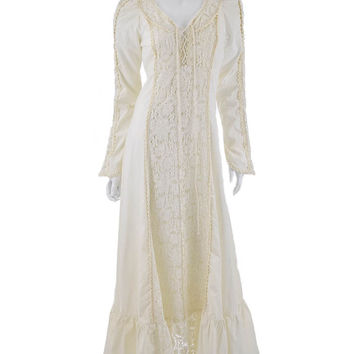 70's Gunne Sax Ivory Cotton and Crochet Lace Empire Maxi Dress