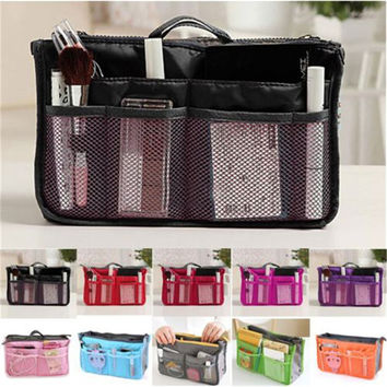 Free shipping 2016 HOT Women Travel Insert Organizer Handbag Purse Large liner Lady Makeup Cosmetic Bag Travelling Bag N658
