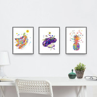 Fruit and vegetables watercolor prints set of 3 giclee prints size 8x10, pineapple, aubergines, bananas, botanical art, kitchen art [N200]