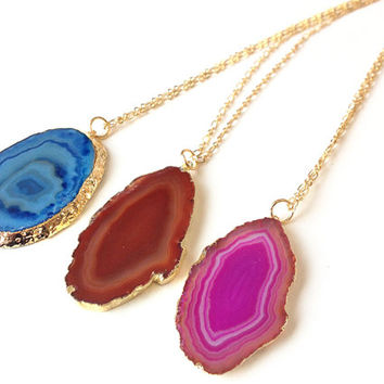 druzy Agate slice necklace - long necklace, gold necklace, blue gemstone pendant - statement necklace