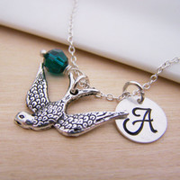 Soaring Sparrow Bird Charm Swarovski Birthstone Initial Personalized Sterling Silver Necklace / Gift for Her - Bird Necklace - Sparrow