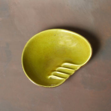 Vintage Mid Century Inspired Ashtray Green Gold 1960's