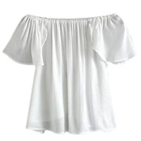 White Off Shoulder Ruffle Sleeve Wrap Back Blouse