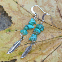 Turquoise beaded earrings with silver feather charms, native american style earrings