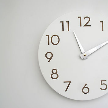 white modern wall clock with modern numbers