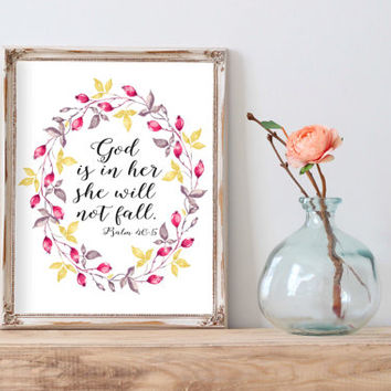 "Psalm 46:5 ""God is within her she will not fall"" Printable wall decor Bible verses Nursery verse print decor scripture art printable"