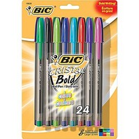 BIC® Cristal® Ballpoint Stick Pens, Bold Point, Assorted Fashion Colors, 24/Pack