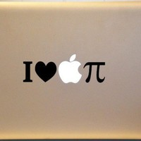 I Love Apple Pi Pie Macbook Vinyl Decal MATHEMATICS