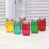 Circleware Country Colored Glass Mason Jars With Metal Lids, Set Of 6 Drink Cups, 16 Ounce Glassware