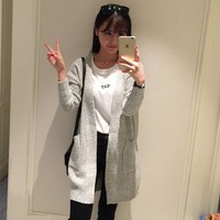 2015 New Women Korean Long Cardigan Crochet Casual Oversized Open Stitch Knitted Coat Thick Spring Autumn Cardigan Female