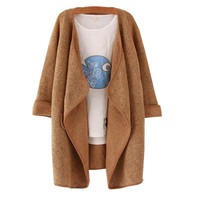 2016 Winter Outerwear Korean Knitted Cashmere Classic Brand Cardigan Women Long Sleeve Casual Large Lapel Sweater Coat Female