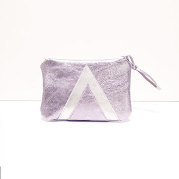 Holographic Leather Pouch // Metallic Silver Purse // Iphone Bag // Art Deco Geometric // Wallet