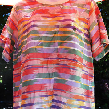 Vintage 80s Pastel Tribal Aztec Ikat Boxy Print Blouse Top Shirt Size 10 Petite Medium