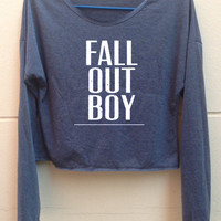 "Crop Long Sleeves Fall out boy shirt FOB shirt Fall out boy tank tunic Women""s clothing Size S"