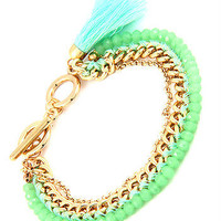 Lucky Charm - Mint and Gold Tassel and Chain Bracelet