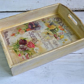 Serving tray, shabby chic serving tray, wood tray, kitchen tray, coffee table tray