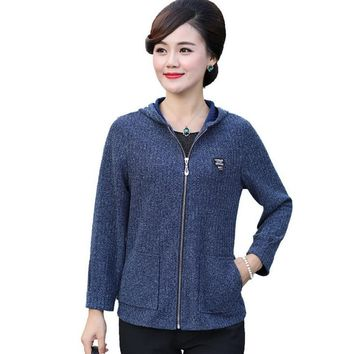 1xl-5xl hooded jacket 2018 autumn new middle age mother coat plus size casual women knitted garment zipper cardigan