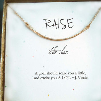 raise the bar, inspirational, promotion gift, support gift, graduation gift, co-worker gift, motivational gift bar necklace