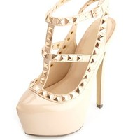 STUDDED PATENT T-STRAP HEELS