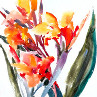 Canna, Original watercolor painting, 12 X 9 in, Asian style watercolor art, orange flowers,