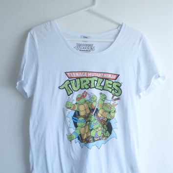 90s TMNT Teenage Mutant Ninja Turtles Cartoon Graphic T-Shirt Tee Top