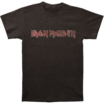 Iron Maiden Men's  Iron Maiden Distressed Logo Vintage T-shirt Heather Graphite