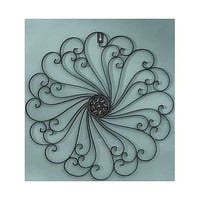 Metal Wall Sculpture Black White Iron Scroll Antiqued Finish Large Decor Art New