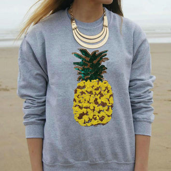 Gray Pineapple Pullovers Sweatshirts