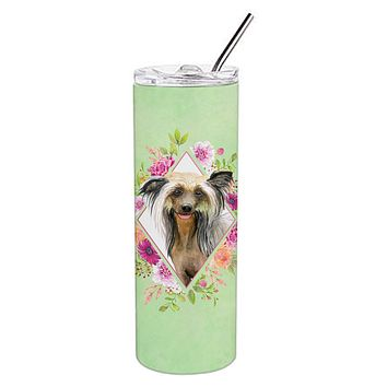 Chinese Crested Green Flowers Double Walled Stainless Steel 20 oz Skinny Tumbler CK4290TBL20