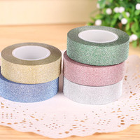 10M x 5 rolls Glitter washi tape gold silver shimmer pink green blue washi masking tape craft project gift tape glitter tape set on sale