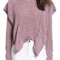 Woven Heart Ruffle Chenille Sweater | Nordstrom