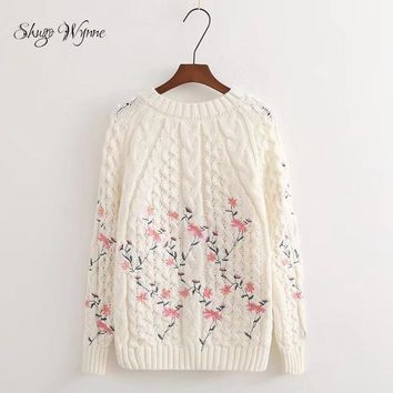 Shugo Wynne 2018 Autumn Winter New Women Fashion Pullover Sweet O-neck Long Sleeve Flowers Knitted Sweater Casual Mori Girl Tops