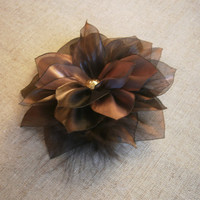 Chocolate Brown Bridal Flower Brooch. Bridal Hair Flower .Chocolate Brown Bridal hair pin. Chocolate Brown Organza Flower. Flower Brooch