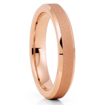 4mm - Rose Gold Tungsten Ring - Rose Gold Tungsten Band - Women's Ring