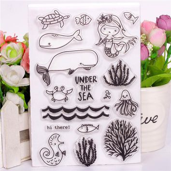Rubber Silicone Clear Stamps for Scrapbooking Tampons Transparents Seal Background Stamp Card Making Diy Animal mermaid