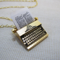Typewriter Necklace Miniature Charm Pendant 18K by CuteAbility