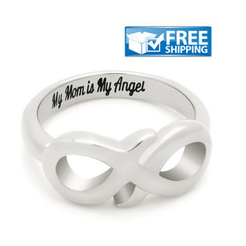 "Mother Infinity Ring, Promise Ring Double Infinity Ring ""My Mom is My Angel"" Engraved on Inside Best Gift for Mother"