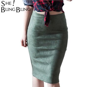 SheBlingBling Fashion Empire Skirts  Spring Faux Suede Pencil Skirt High Waist Bodycon Split Thick Stretchy Skirts 12 Colors