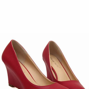 New style pure color pointed toe wedge