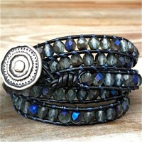 Midnight Blues - leather 5-wrap bracelet black blue gray glass beads | TOWNOFBEADROCK - Jewelry on ArtFire
