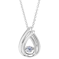 14k White Gold Pear Shaped Dancing Diamonds 18 Inch Necklace - 0.10ct. Diamond
