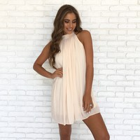 Elegant Pleats Dress In Cream