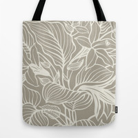 Floral Alabaster Blue Gray Tote Bag by Beautiful Homes