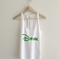 Dank Green Frozen Disney Typography Racerback Tank Top