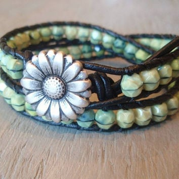 Mint green leather wrap bracelet RainForest mint by slashKnots
