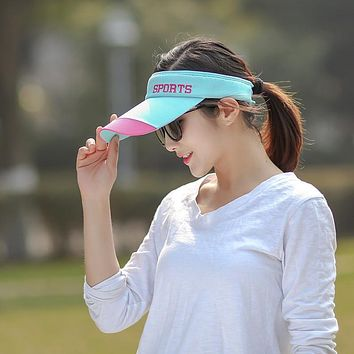 Summer Sun Hat Ladies Baseball Cap Cotton Korean Version Outdoor Bevel Empty Top Helmet Sports Tennis Ball Sun Hat Sports Letter