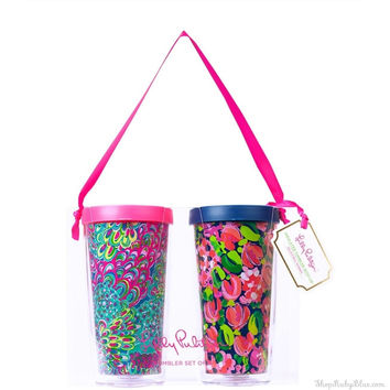 Lilly Pulitzer Insulated Tumbler with Lid Set Wild Confetti/Lilly's Lagoon